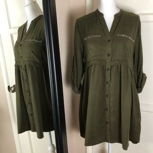 Zara Green Mini Beaded Shirt Dress NWT
